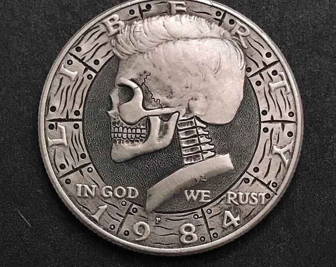Hobo Nickel Skull Kennedy Half Dollar Love Token hand engraved
