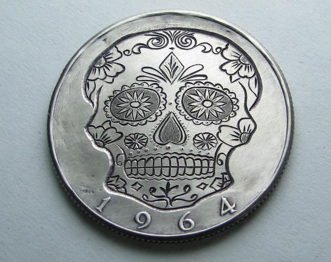 Hobo Nickel Skull By M.J. Petitdemange hand engraved coin,memento mori, hand carved skull