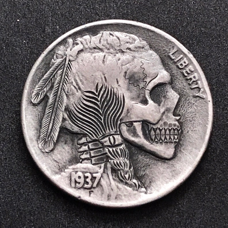 Hobo Nickel Skull By M.J. Petitdemange engraved coinmemento image 0
