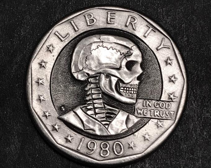 Hobo Nickel S. B. Anthony Skull  By M.J. Petitdemange  Buy Coin online-Rare coin-Handcarved-Folkart-Jewelry-Art-Groomsmen gift-Halloween