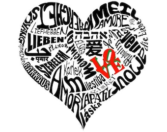 Love in 30 Different Languages Typography Art on Canvas 12x14