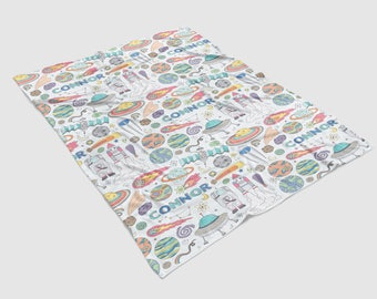 Personalized 50 x 60 inch Outer Space Planets, Astronauts and Rockets Name Minky Blanket