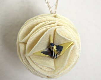 Felt Fabric Mochi Christmas Ornament with Origami Crane