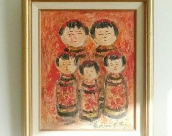 Peinture à l'huile encadrée poupée Kokeshi (Version rouge)