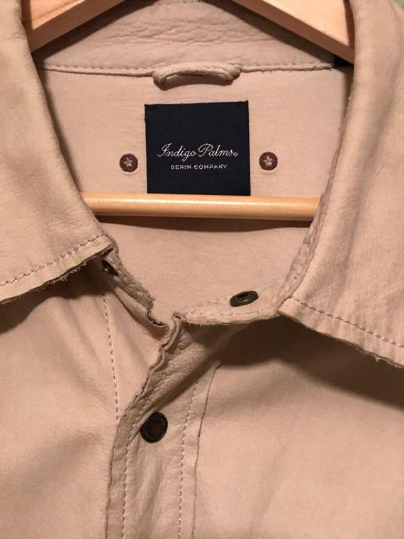Indigo Blue Leather Jacket Mens XL Vintage Leather