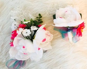White and hot pink flower & boutonniere set