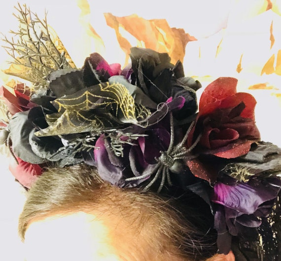 Purple Navy Blue Rose Flower Sugar Skull Headband Halloween Day of the Dead 7597