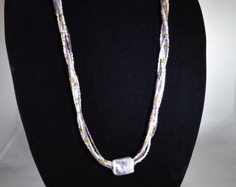 Beaded lavender and white glass bead necklace