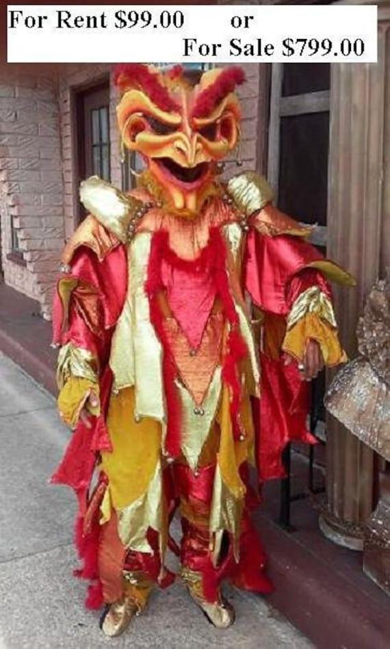 Evil Jester Mascot Mardi gras used costume RENTAL