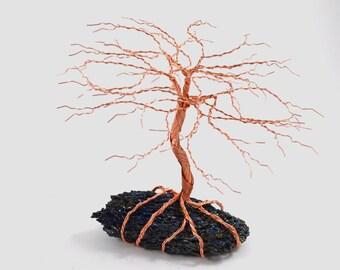 Flashy Moissanite Carborundum Chunk Copper Wire Tree of Life Handmade Home Decor Miniature Tree Sculpture Fairy Garden