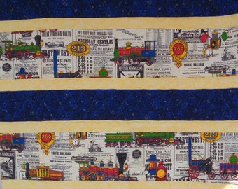 Train Quilt - blue and yellow