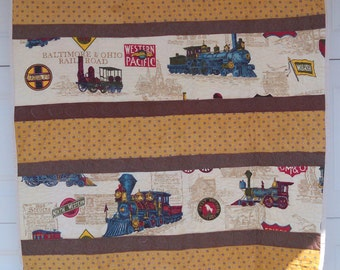 Train Quilt - gold and brown