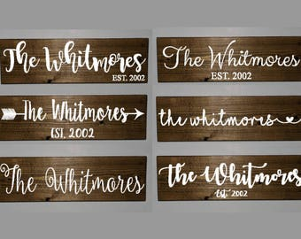 Family name sign, family wooden sign, established sign, last name sign, rustic home decor, custom wood sign, custom wooden sign, wood sign