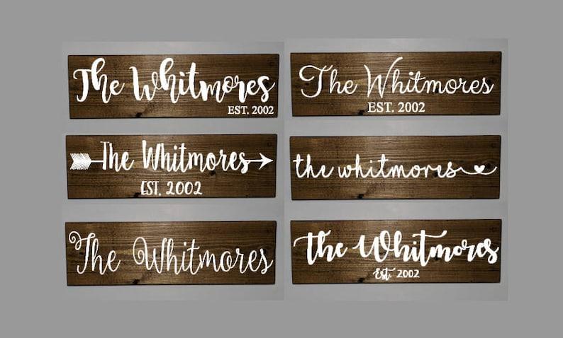 Family Name Sign Wooden Established Last