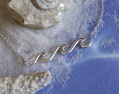 Sterling Silver Waves Necklace Ocean Summer Vacation Jewelry 16 to 18 inches.