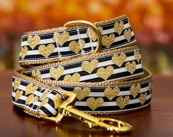 Golden Hearts Dog Leash / Made in Australia / Gold Dog Lead