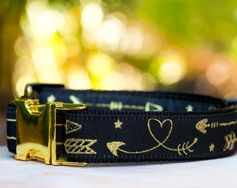 Dog Collar / Gold Arrows Dog Collar / Aztec Arrows Dog Collar / Dog Collars Australia / Golden / Luxury