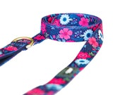 Navy Floral Dog Lead
