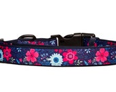 Navy Floral Collar Dog Collars Australia Navy Dog Collar