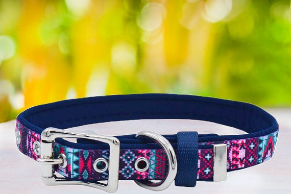 Neoprene Dog Collar Pet Collars Flag Aztec /& Floral Patterns pink red yellow