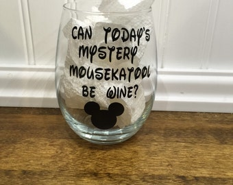 set of two mickey wine glasses.  *please advise in notes to seller of you prefer red or black print*