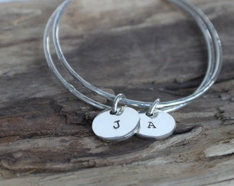 Initial Bracelet - Monogram Bracelet, Personalized Jewelry, Bangle Bracelet, Stacking Bracelet, Gift for Mom, Custom Bracelet, Gift for Her
