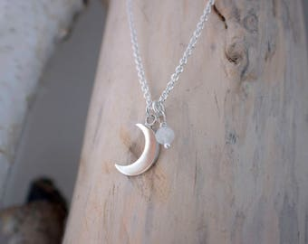 Crescent Moon Necklace - Moon Jewelry, Celestial Necklace, Moonstone Necklace, Everyday Silver Necklace, Gift for Girlfriend