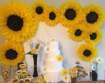 Oversized paper sunflower backdrop for rustic weddings, bridal or baby showers, sunflower themed parties and birthday parties - 9 flowers