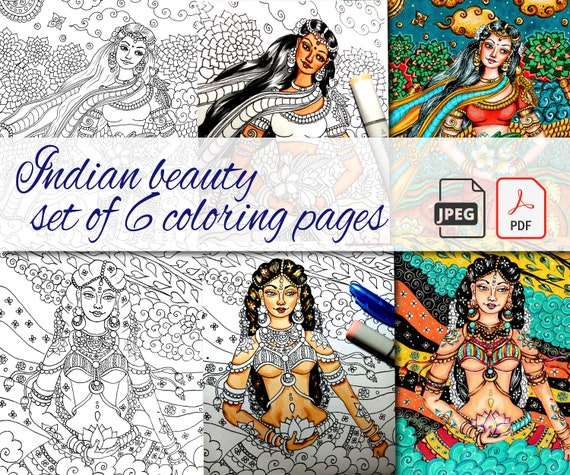 Adult Coloring Book Pages Set Indian Women In Traditional Etsy