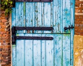 Rustic Wall Decor, Country Cottage, Distressed Wood, Barn Door Photograph, Blue Crackled Paint, Photographic Print, Country Decor