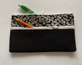 Cute Floral Pencil case Makeup Bag 19.5cm x 11.5cm With Two Pockets and  two Zippers,