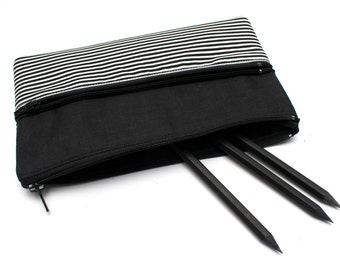 Cute B&W Striped Pencil Case/ Makeup Bag With Two Zippers