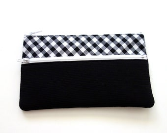 Black and White Striped Pencil Case/ Makeup Bag 19.3cm x 11.5cm With Two Zippers