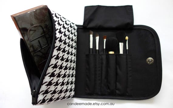 Classy Large black & white Makeup Bag with a Brush Holder a Magnetic Button. Great for Travel, Gift For Her
