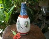 1800s Japanese Antique Meiji Period Hand Painted 九谷 Kutani Tokkuri Sake Bottle Signed