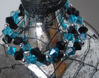 Double Strand Beaded Bracelet- Aqua and Black