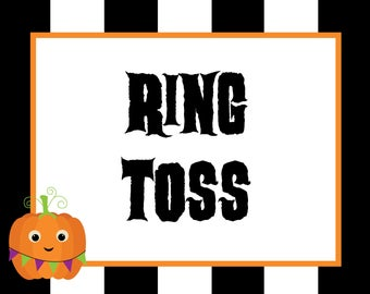 printable halloween carnival signs and punch cards pick your etsy