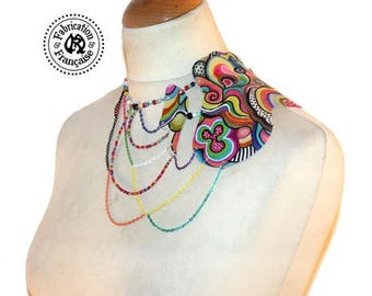 Leather bib necklace asymmetrical body jewelry cascade of beads and fancy chains all ladies sizes