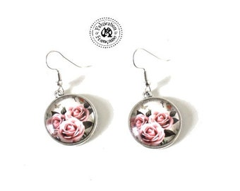 Earrings style shabby chic small Stud inclusion pink flowers