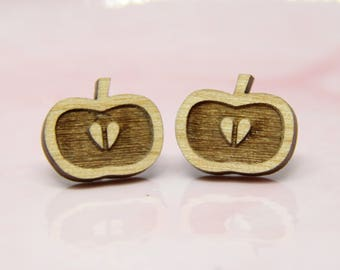 Wooden Apple Earrings - Stud Earrings - Fruit Earrings - Lasercut - Wood Earrings.
