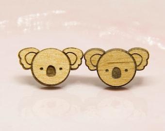Wooden Koala Earrings - Lasercut - Australiana Earrings - Australian Animal - Wood Earrings