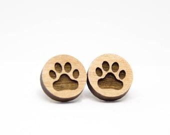 Wooden Paw Print Earrings - Stud Earrings - Animal Lover - Lasercut - Dog Lover Earrings.