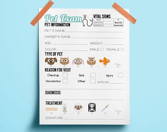 Veterinarian Pet Exam Form Printable | Kids Pretend Play | Veterinarian Party Printables | Vet Party Favors | Homeschool Printable