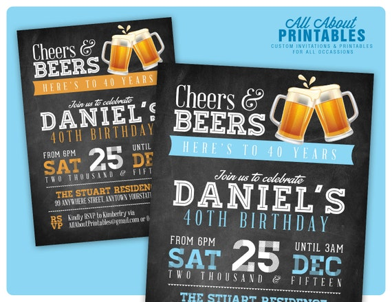 40th Birthday Invitation For Men Cheers Beers
