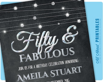 50th Birthday Invitation for women. Fifty and fabulous. Elegant Silver Diamond Glitter Invite. 60th 70th 80th 90th. DIY Printable Digital