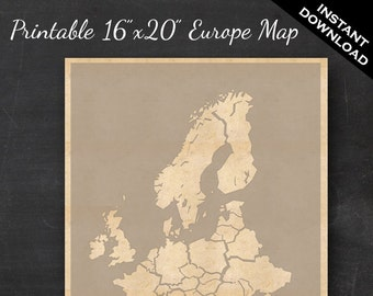 """European Travel Maps - Printable Europe Travel Map Instant Download - 16""""x20"""" EU Wall Art - No banner Style"""