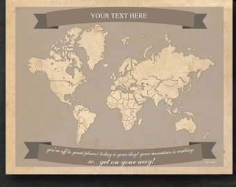 World Travel Map - Printable Editable World Travel Map Instant Download - Letter Size