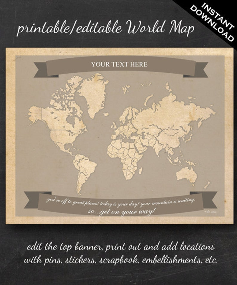 World Travel Map  Printable Editable World Travel Map Instant image 0