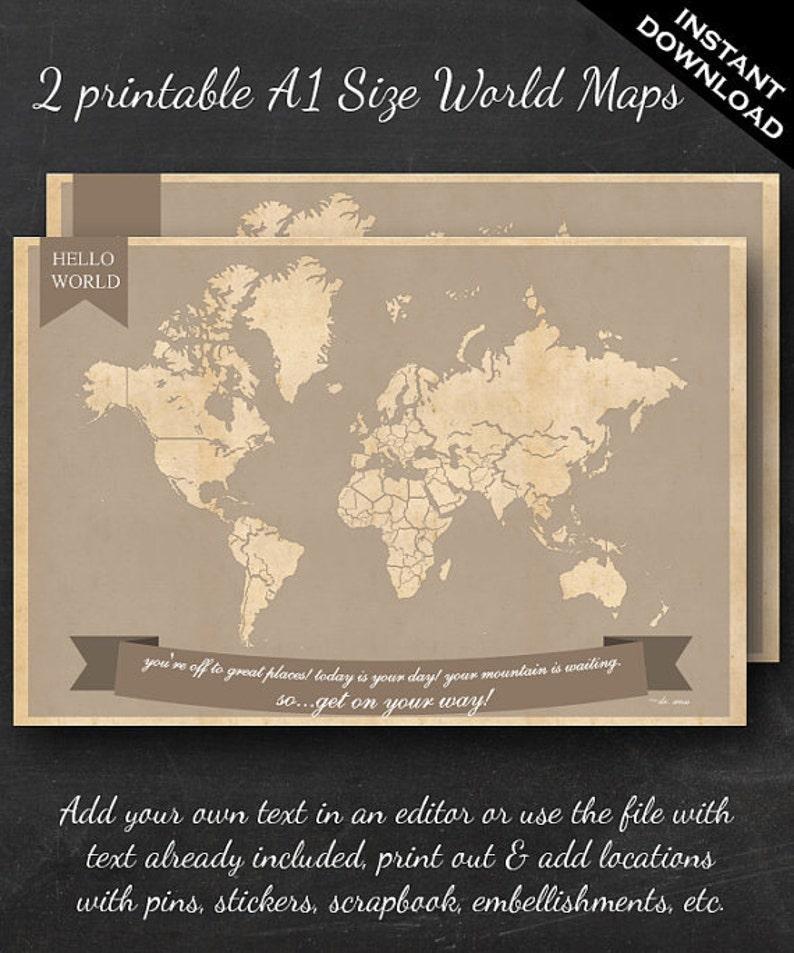 World Travel Maps  Printable World Travel Map Instant image 0