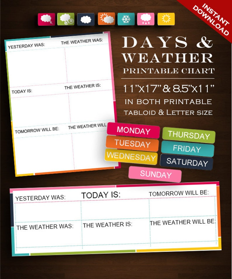 photograph relating to Printable Days of the Week Chart referred to as Climate Chart - Weekly Weather conditions and Times of the 7 days Chart Rainbow Printable Editable Down load - Clroom Homeschool Cl Weather conditions Weekly